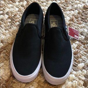 Black Canvas Vans Slip Ons-Size 8